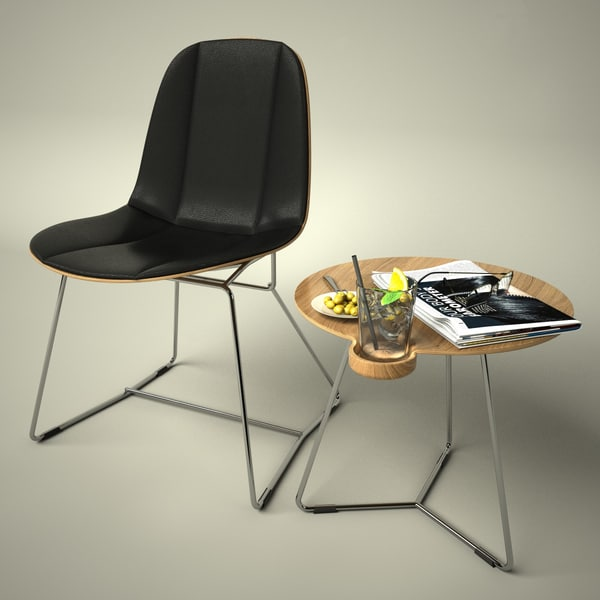 Bauhaus Chair and Side Table 3D Models