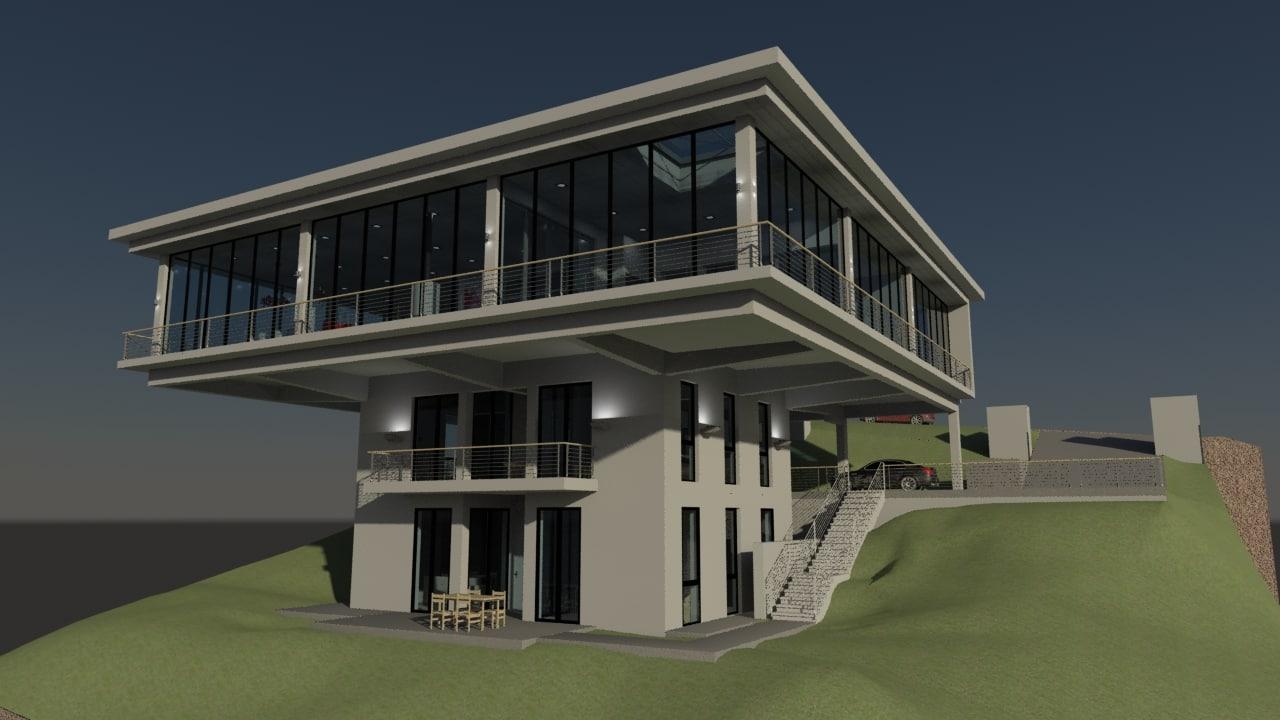 Cantilever house building 3d model for 3d house builder online
