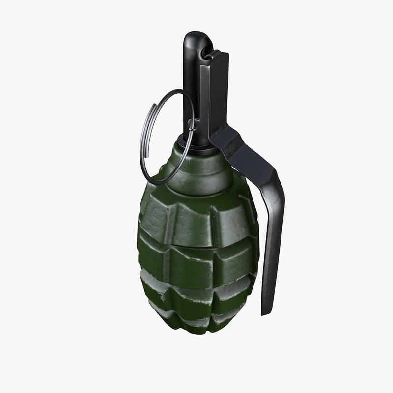 3d model hand grenades f 1