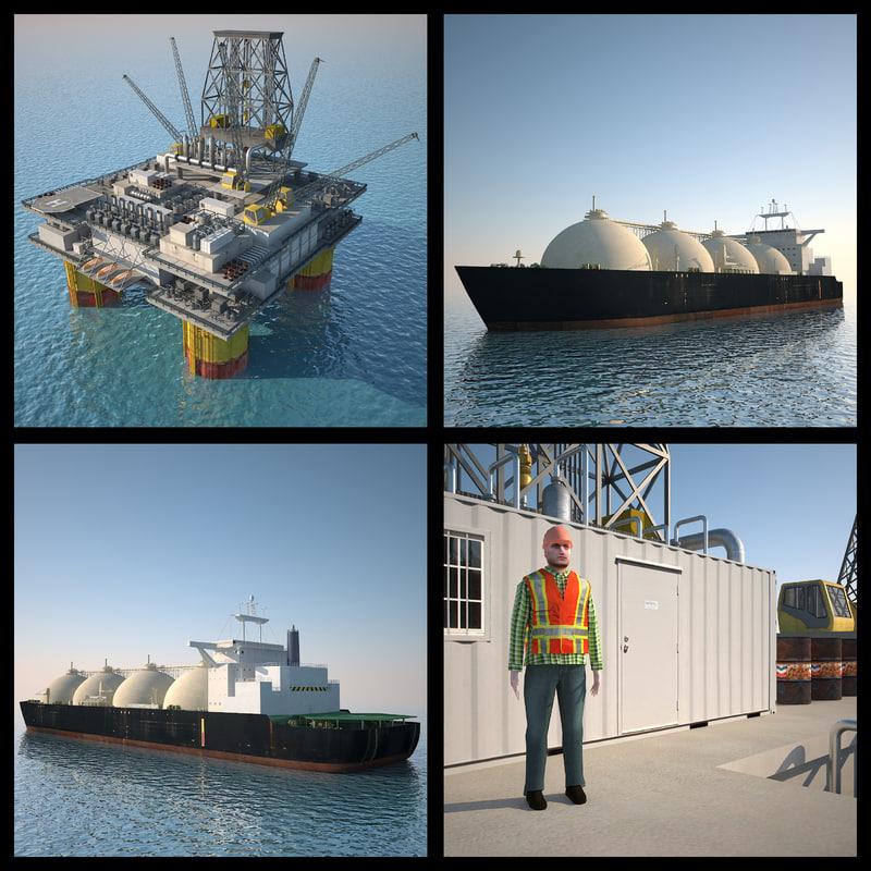 Oil Platform And Lng Tanker Ship