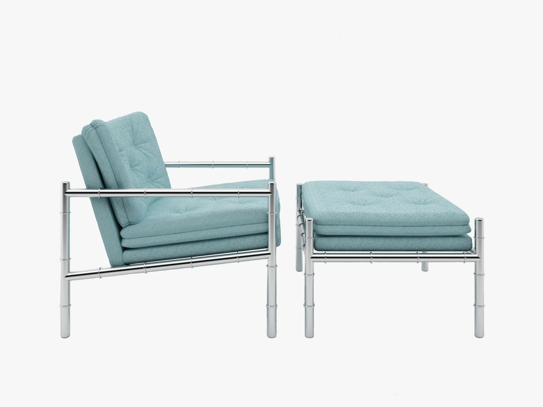 Chair and Ottoman with Chrome and Bamboo Motif preview.jpg