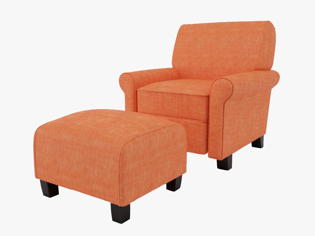Portfolio Mira Orange Linen Arm Chair and Ottoman preview.jpg