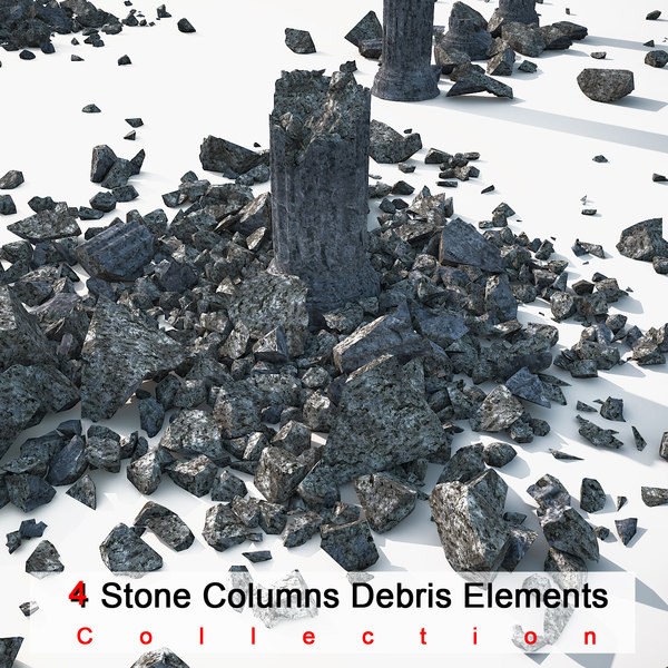 Stone Damaged Column Collection Texture Maps