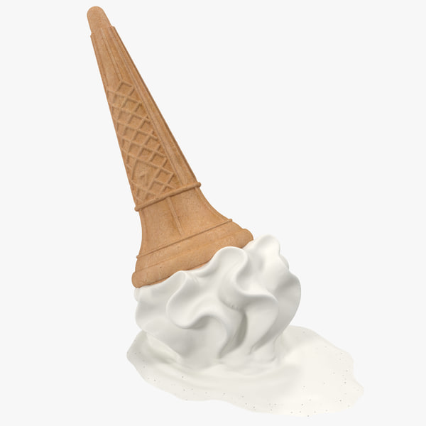 Dropped Ice Cream Cone 3D Models