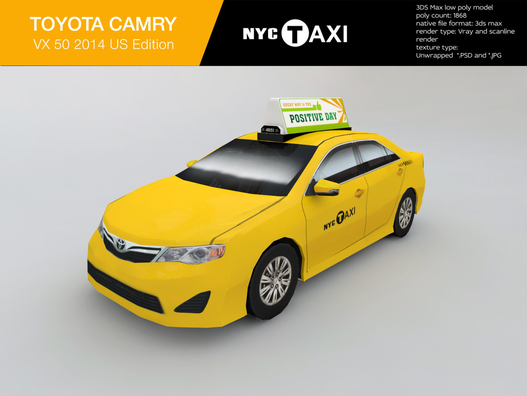 NYC Taxi toyota camry low poly