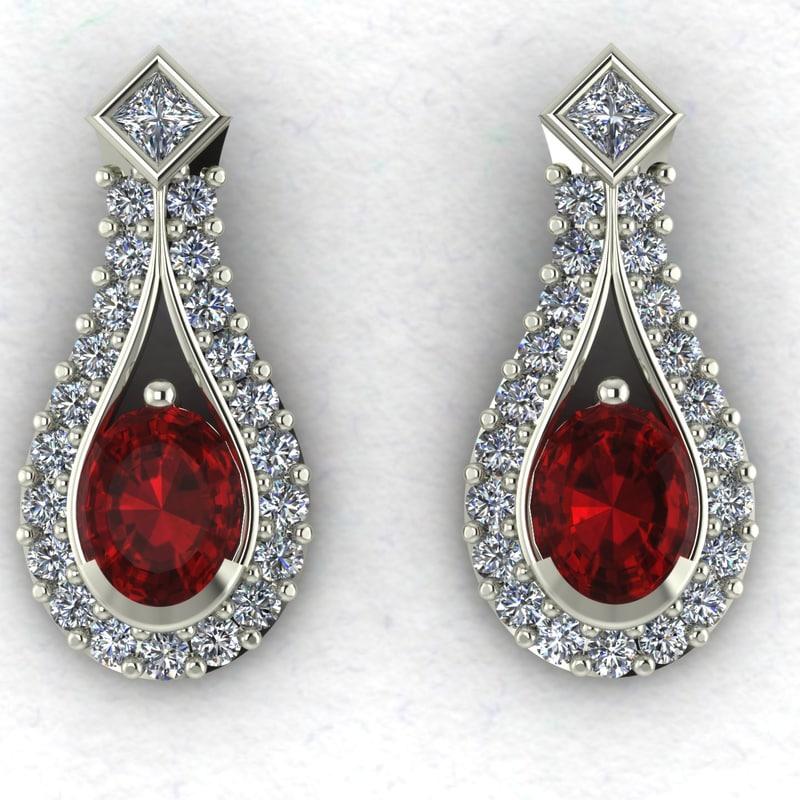 Gemstone and Diamond Earrings Oval with Princess Cut