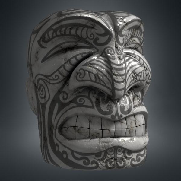 Maori Tiki Face Sculpture