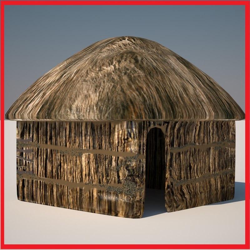 Huts 4 3d model for Model beach huts
