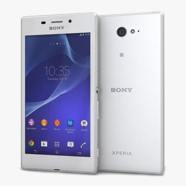 Sony Xperia M2 Aqua White 3D Models