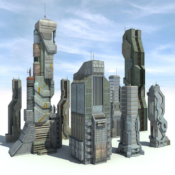 Sci fi City 8 Buildings Futuristic 3D Models