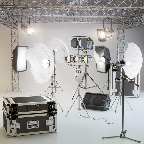 studio lighting, softbox, microphone, speakers, a farm, a suitcase, soffits, sennheiser, studio 3D Models
