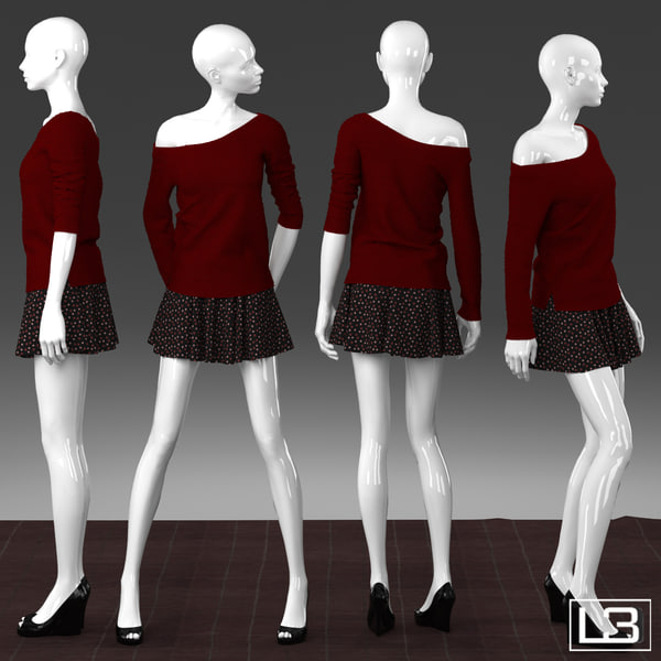Shop window Woman Mannequin 002 3D Models