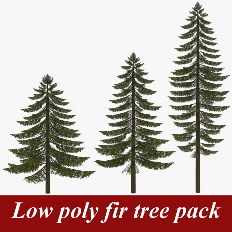 Low poly fir tree pack two