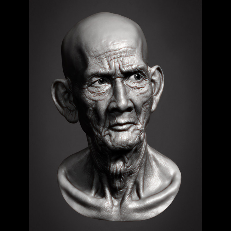 Cambodian Old Man Head