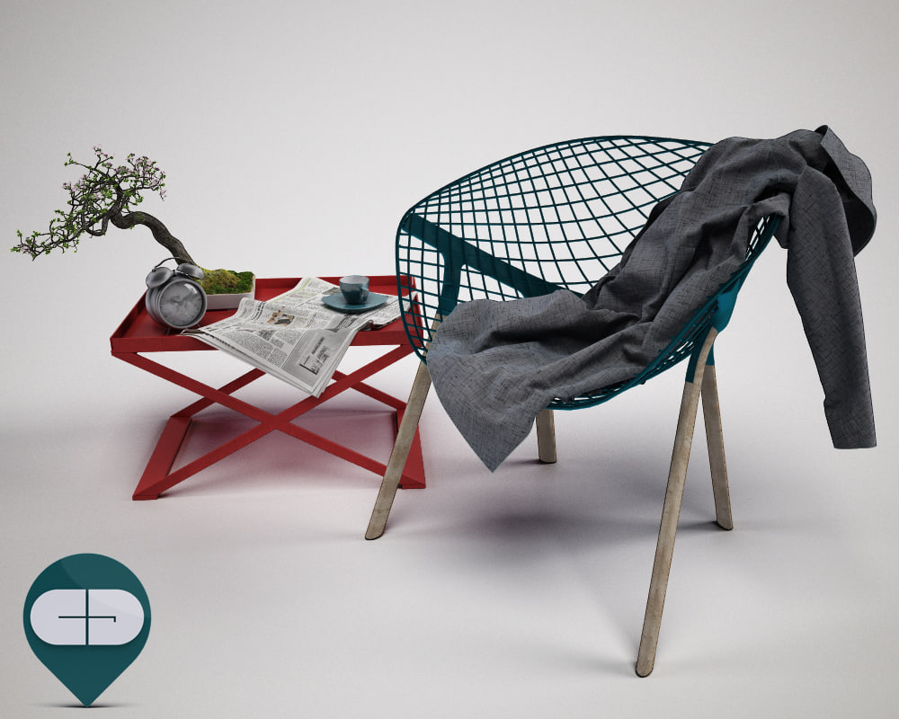 table with bonsai and chair