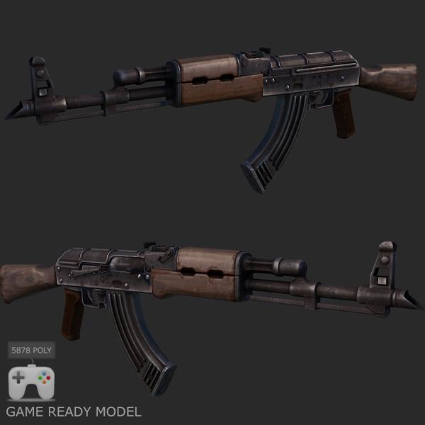Ak-47 low poly model 3D Models