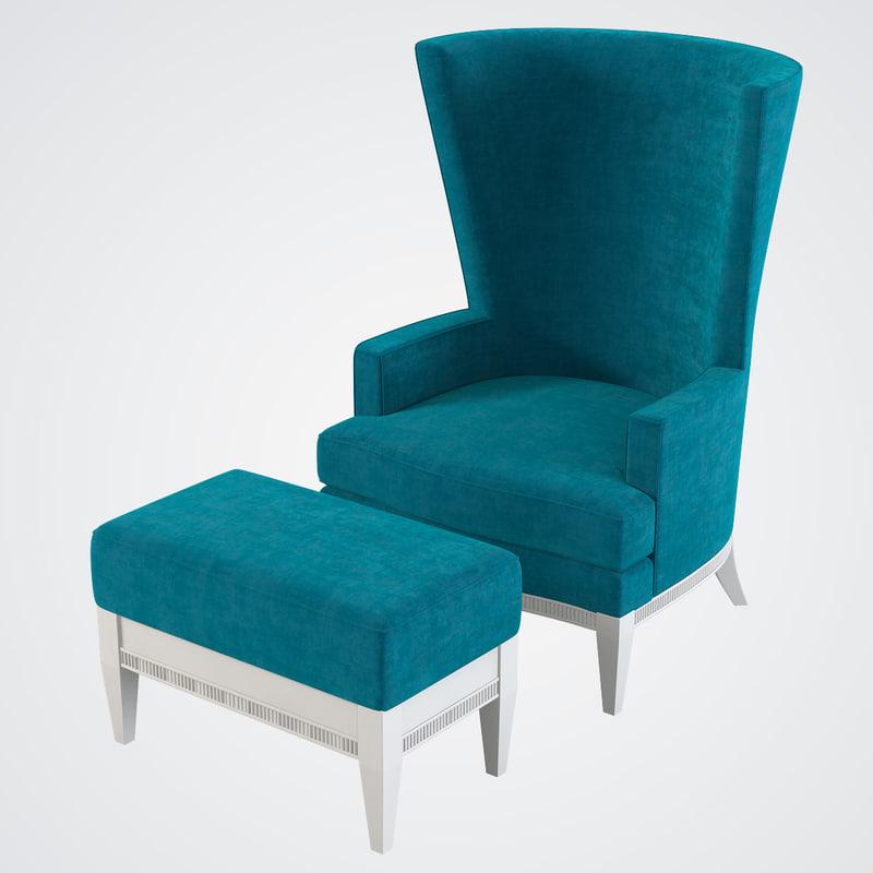 Tosato Wing Chair & Pouf Set