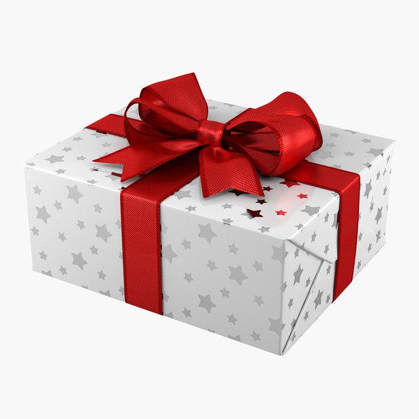 Gift Box rectangle white 3D Models