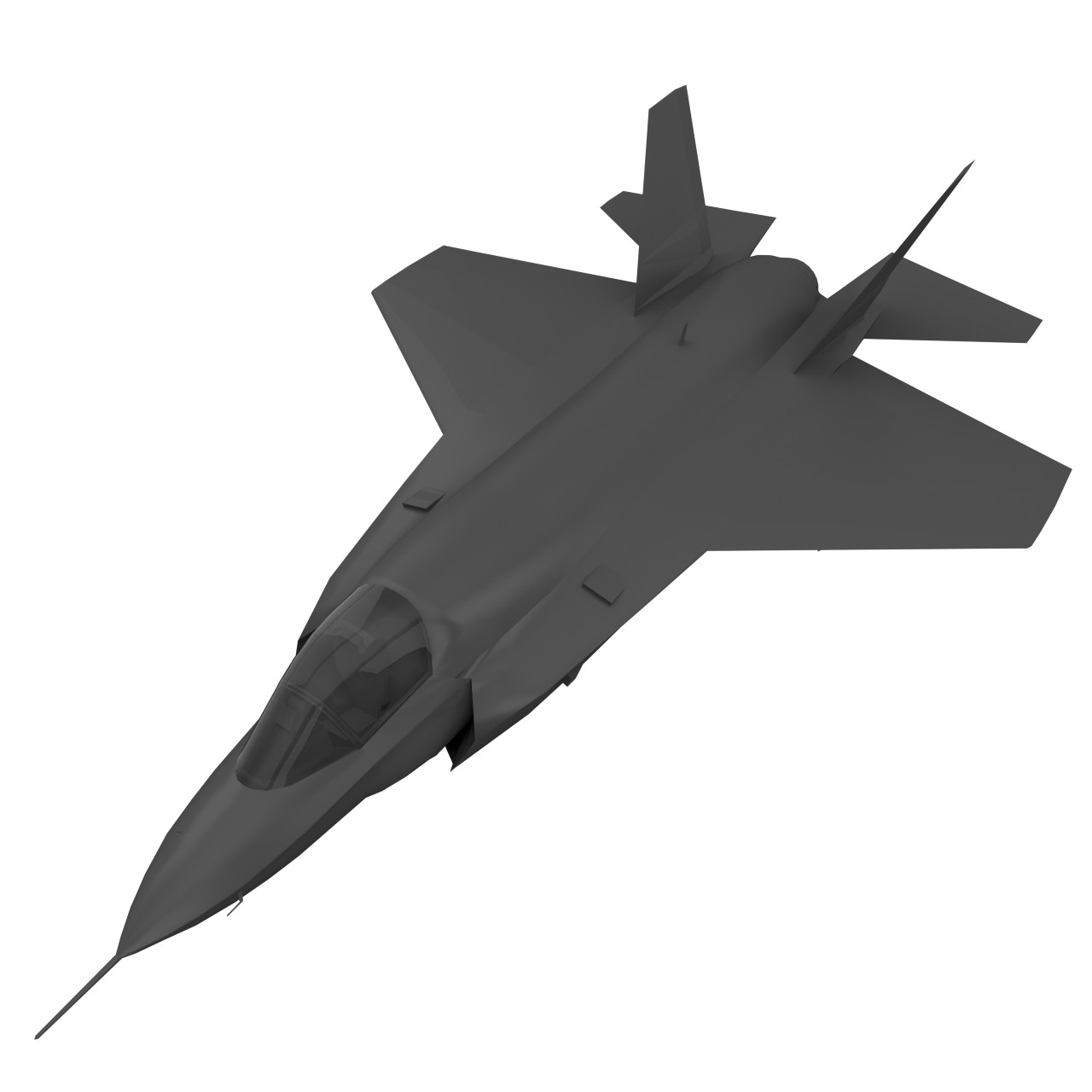 F-35 Lightning II fighter low poly game asset (UV-