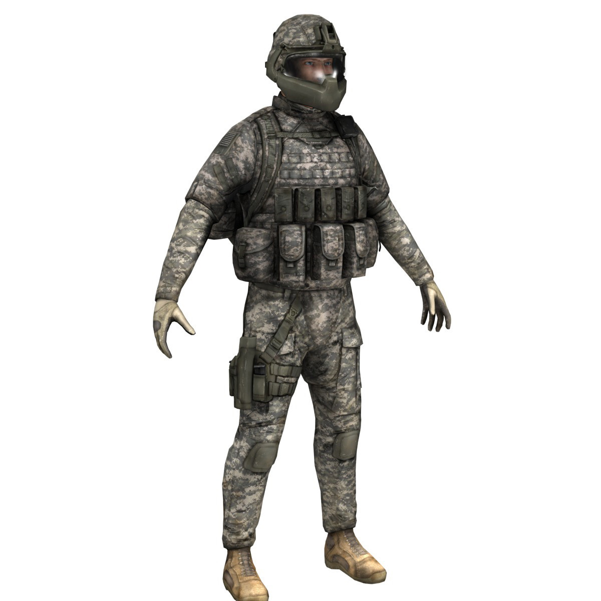 Modern US Soldier-lowpoly