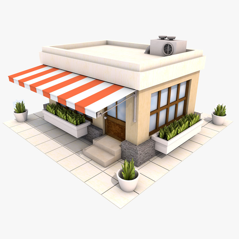 Cartoon restaurant 3d max for Food bar 3d model
