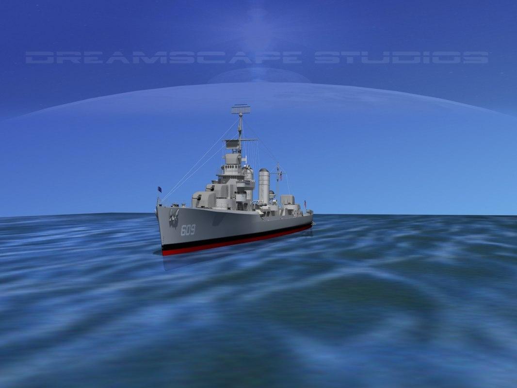 Benson Class Destroyer USS Gillespie DD609