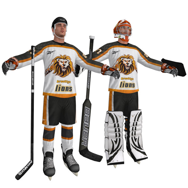 Hockey Player and Goalie 3D Models