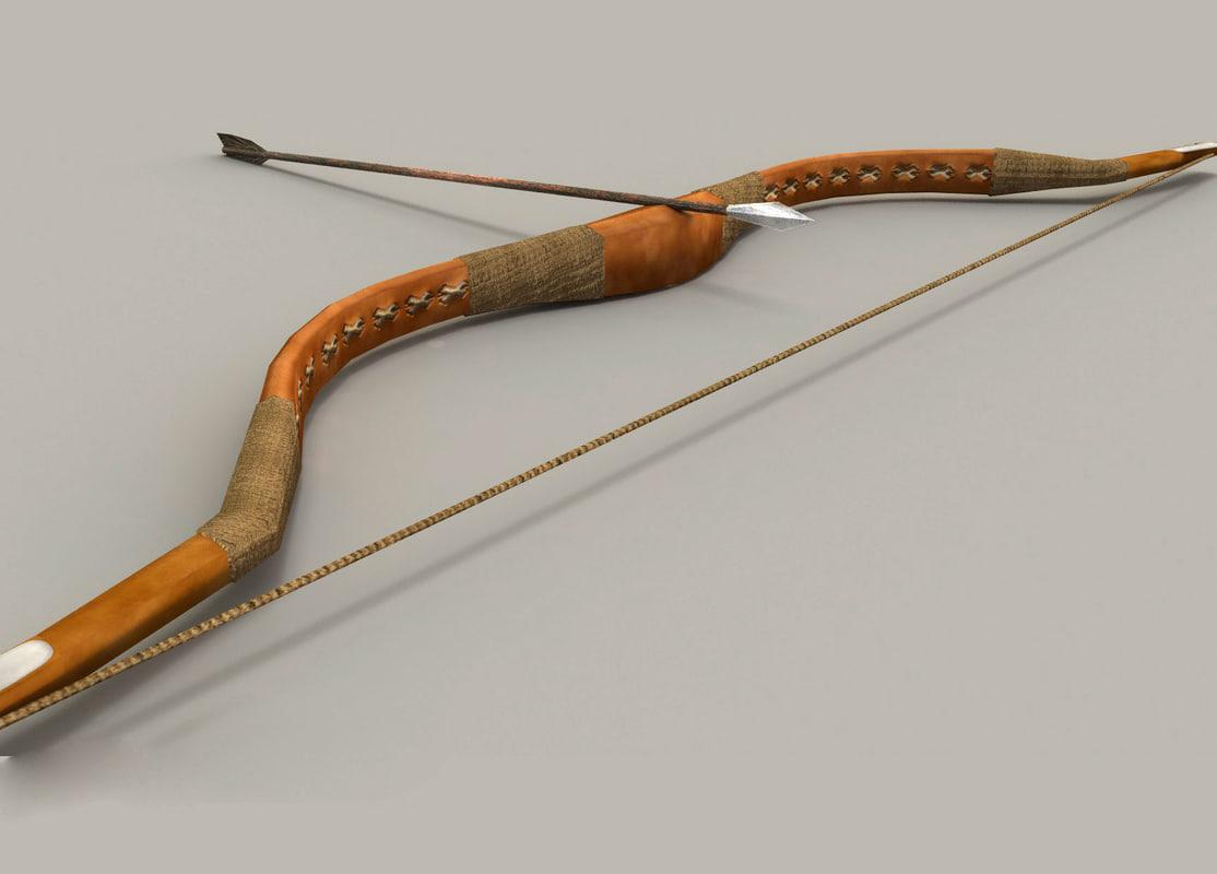 old bow arrow 3d obj