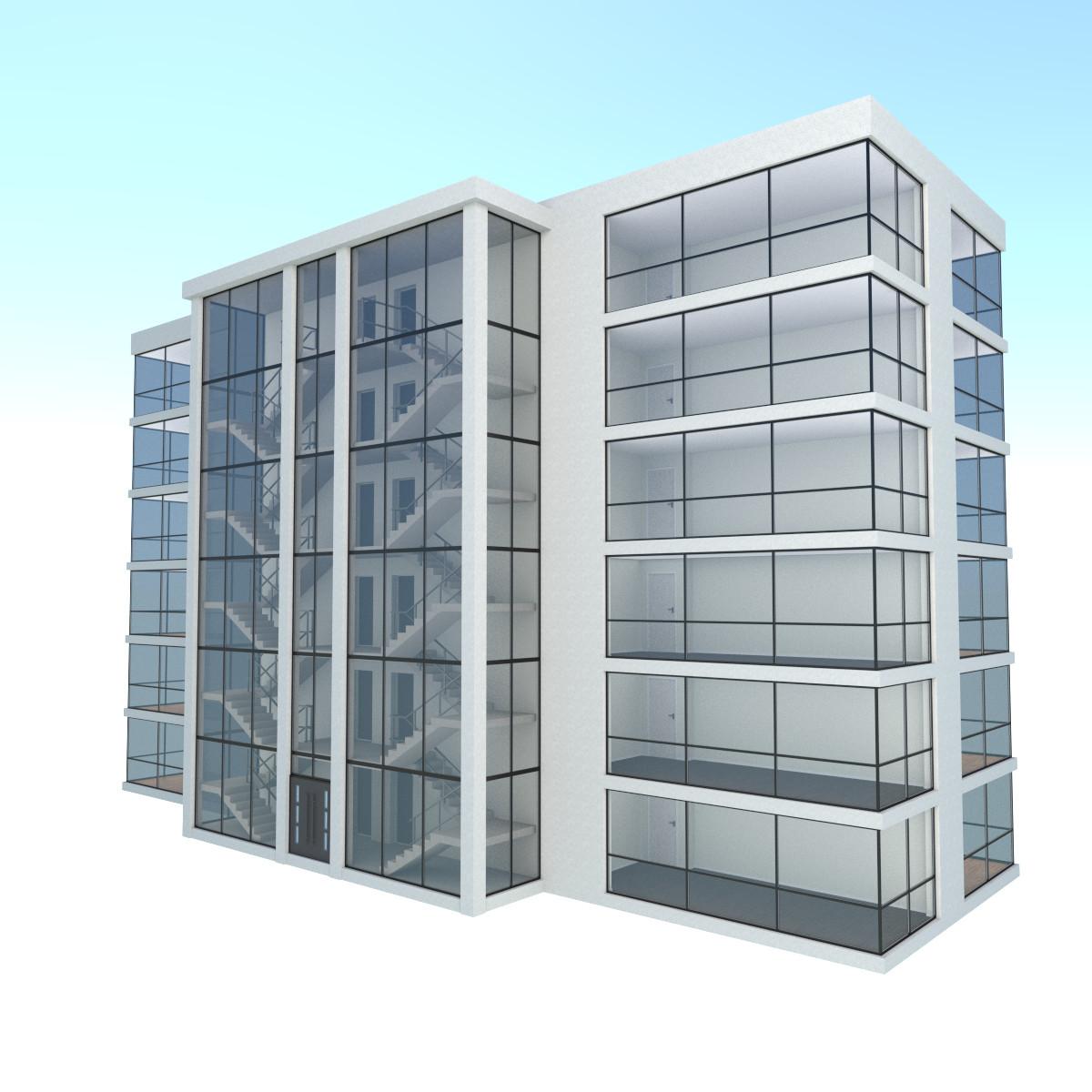 Modern apartment building exterior 3d obj for Apartment model house