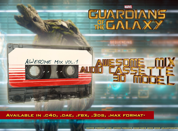 Guardians of the Galaxy awesome mix audio cassette 3D model 3D Models