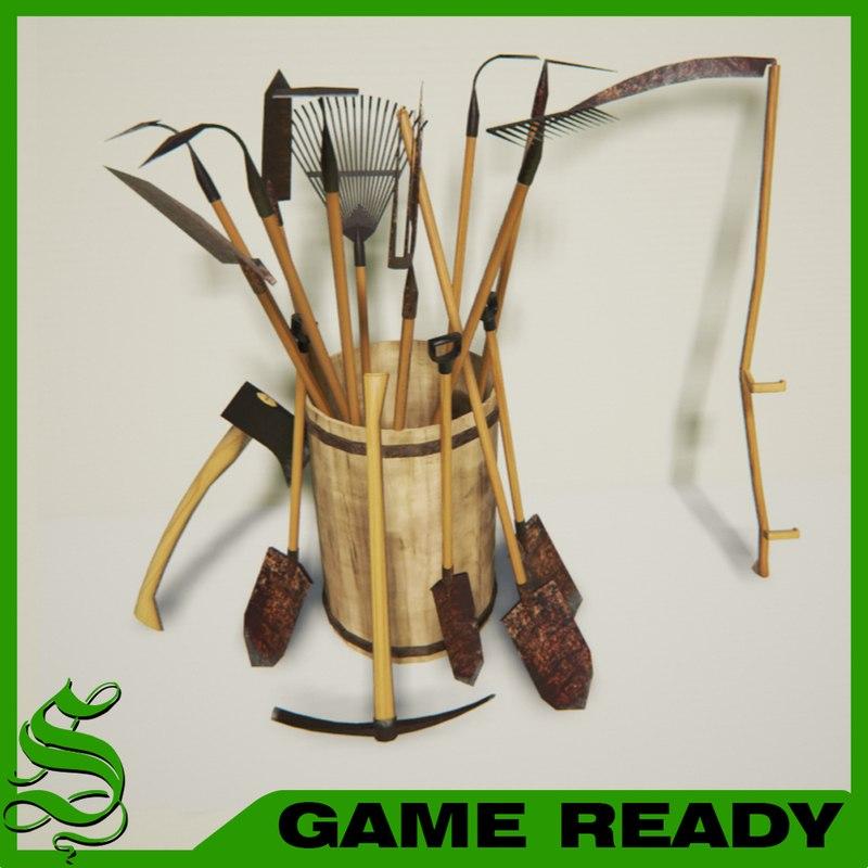 Shovel 3d models for Garden design 3d tools