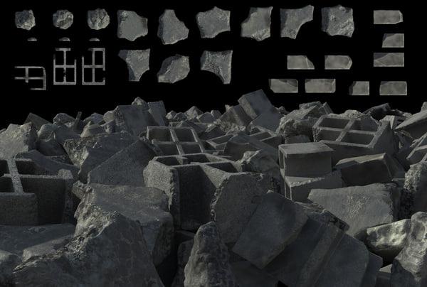 Ruin Debris Set 001 3D Models
