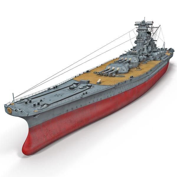 Japanese Battleship Yamato 3D Models