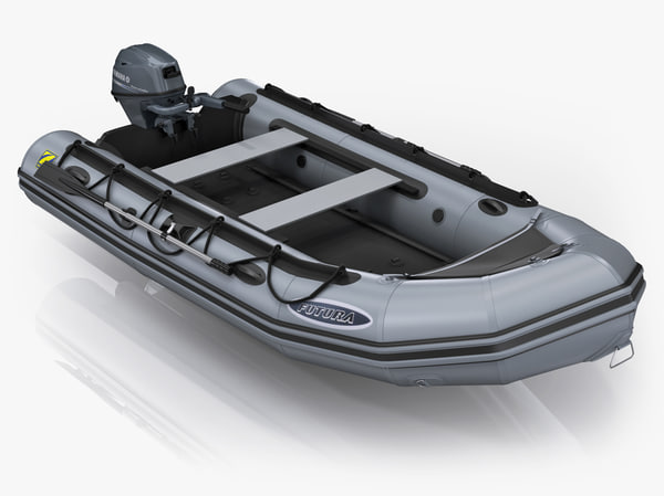 Inflatable boat Zodiac Mark-2 and Yamaha F15 portable outboard engine 3D Models