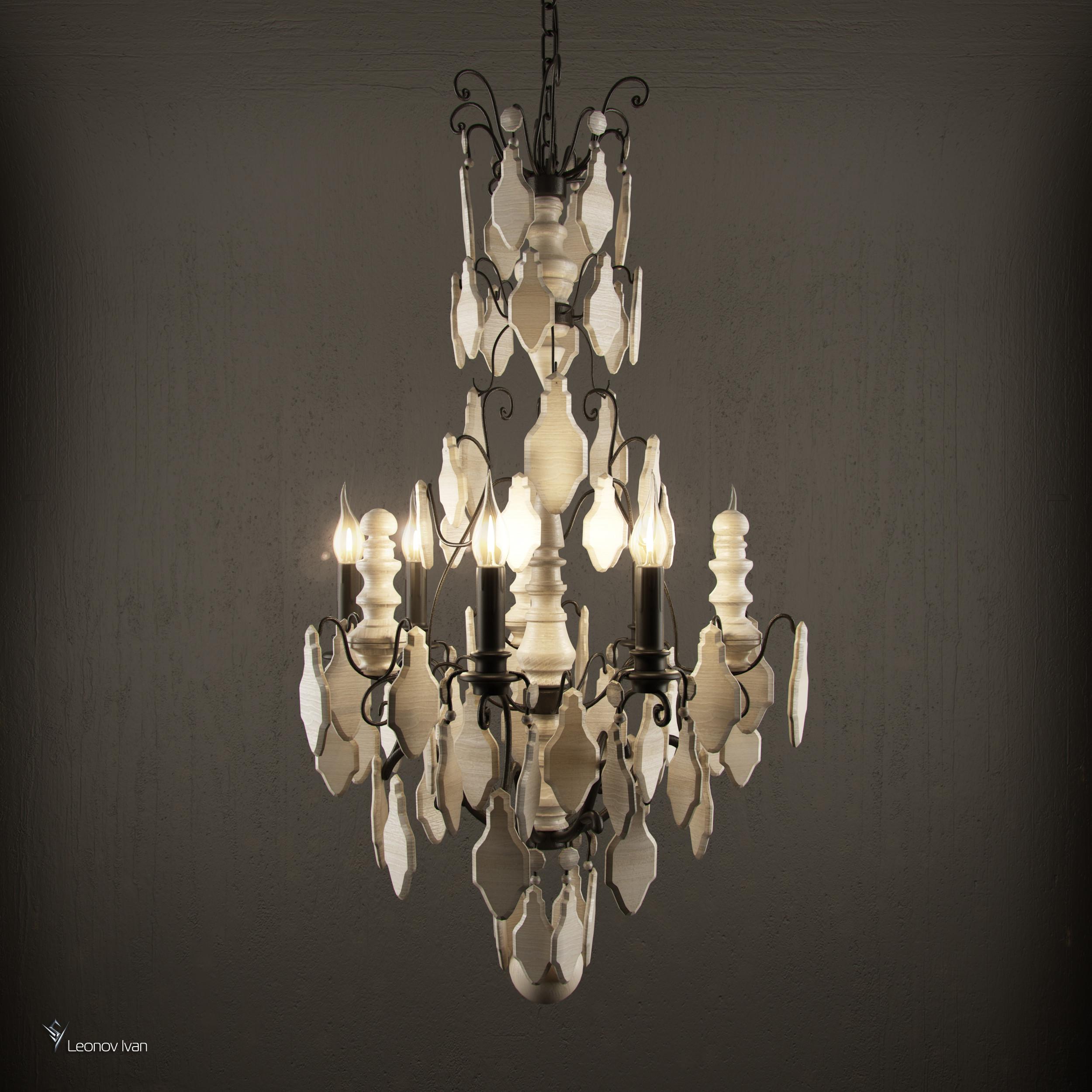 versailles wood teardrop chandelier 3d model