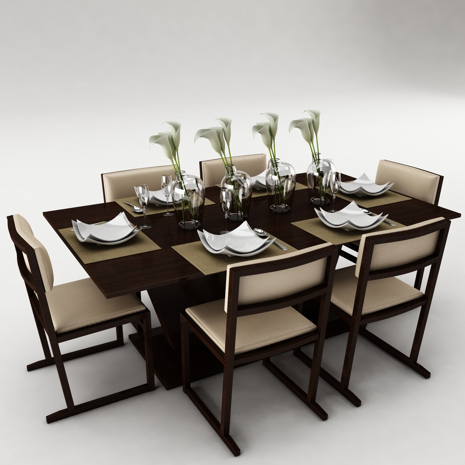 3d furniture set model for Dining table models