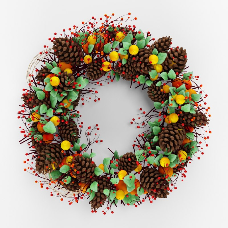 Christmas wreath with cones berries and leaves