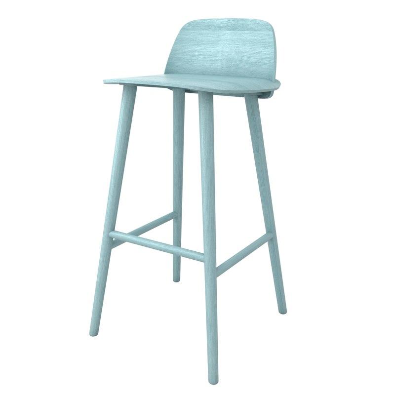 Muuto nerd bar stool 3d 3ds for Barhocker dwg