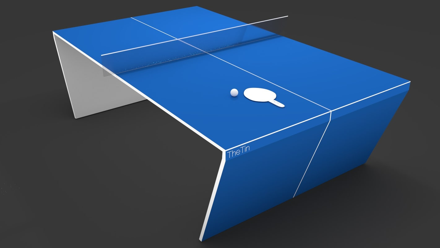 modern and futuristic table tennis with ball and racket, blender cycles render