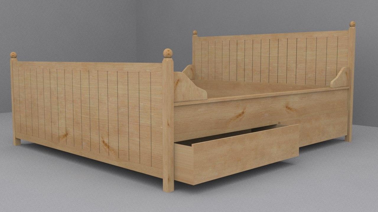 Ikea hurdal bed frame 3d model - Ikea futon frame ...