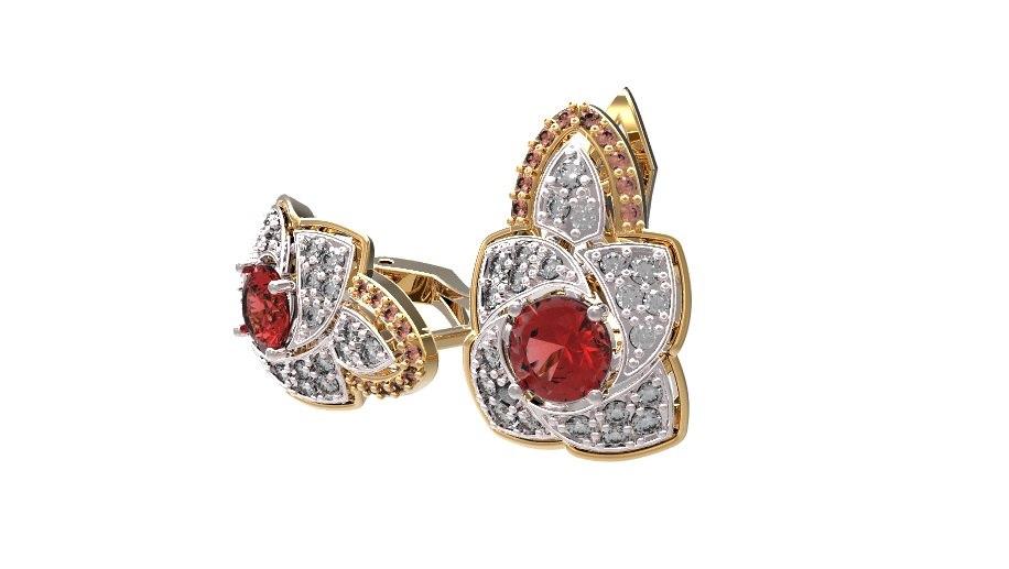 Gold earrings with diamonds and rubies 22.jpg