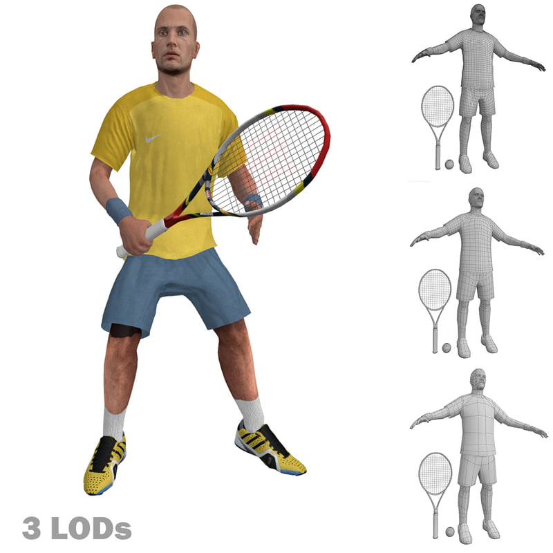 Tennis Player 2 LOD's Rigged
