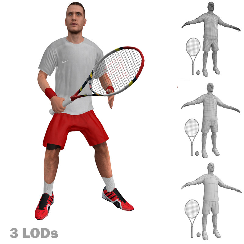 Tennis Player 3 LOD's Rigged