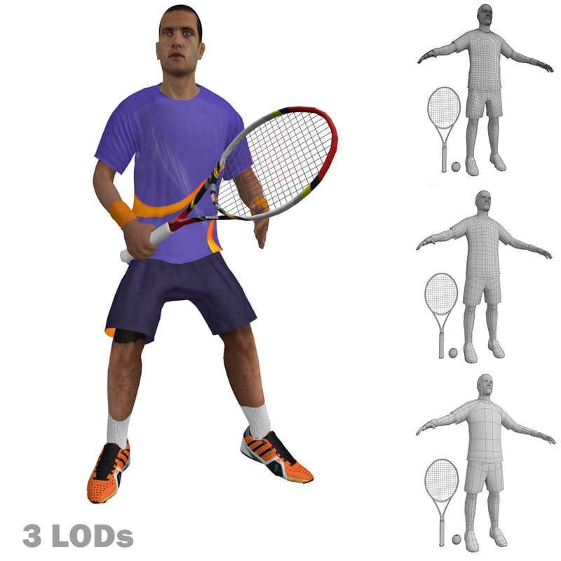 Tennis Player 4 LOD's Rigged