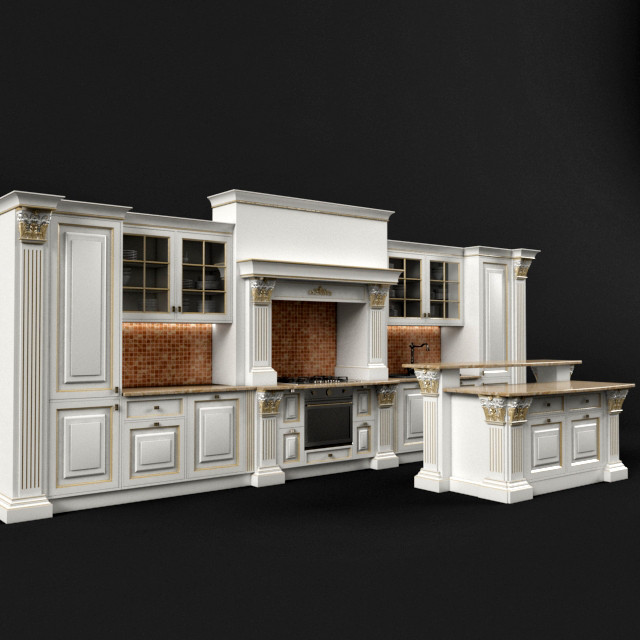 3d model classic kitchen set for Kitchen set classic