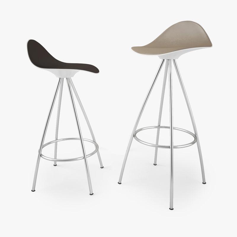 Stua onda stool 3d max - Onda counter stool ...