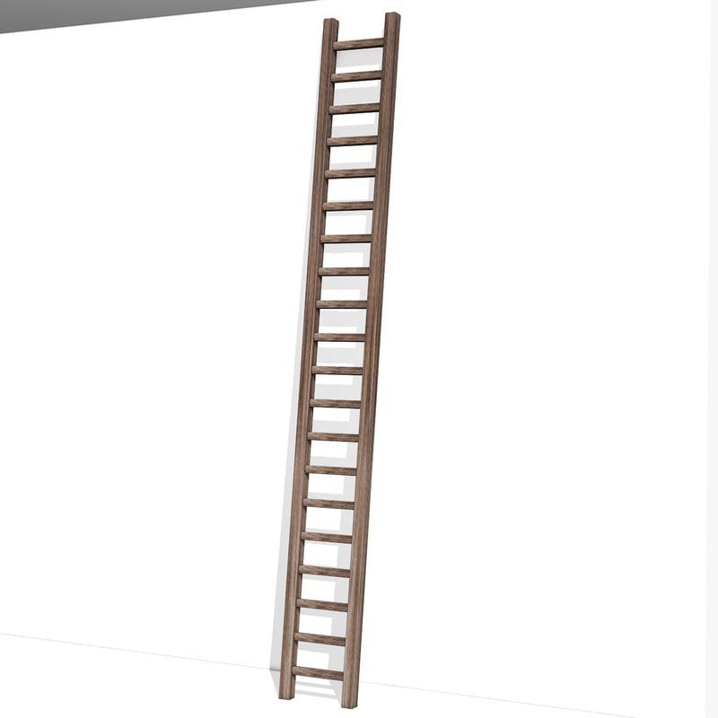 3d Wooden Ladder Model