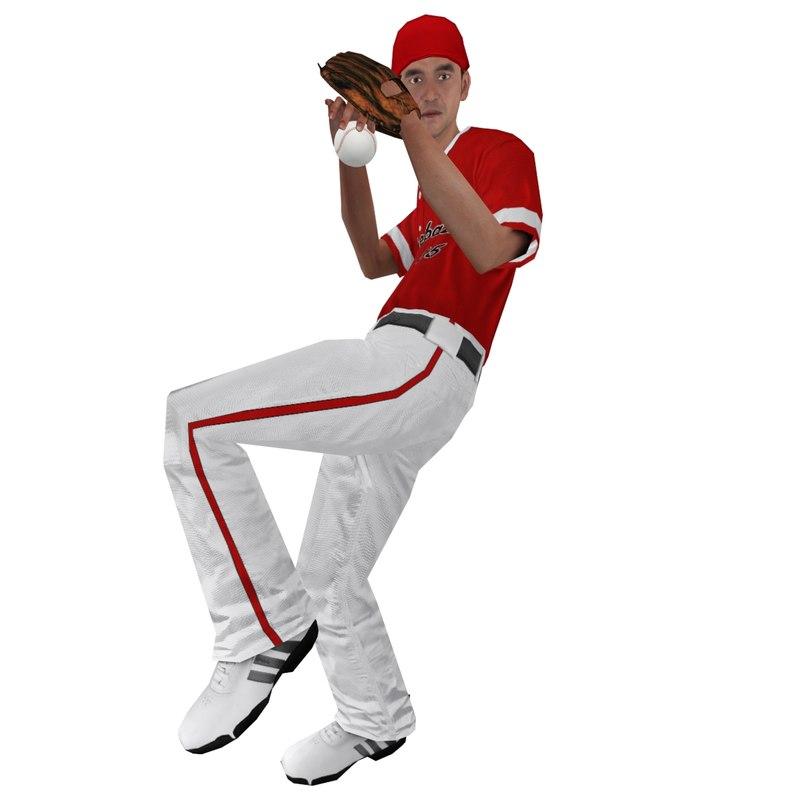 Baseball Player 3 LOD1 Rigged