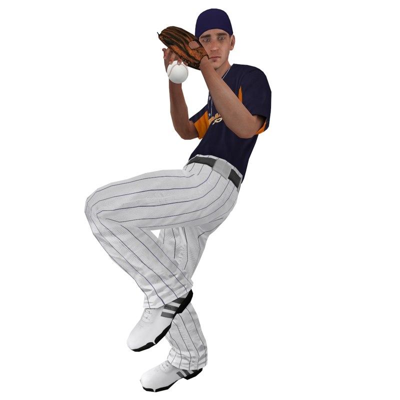 Baseball Player 1 LOD2 Rigged
