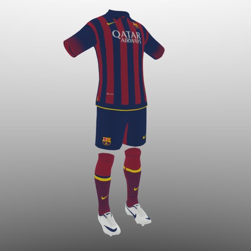 3d soccer kit clothes barcelona